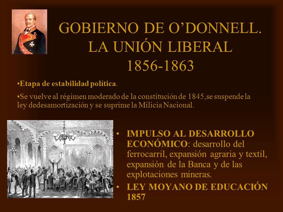 Mª Victoria Landa GOBIERNO DE ODONNELL. LA UNIÓN LIBERAL 1856-1863 IMPULSO AL DESARROLLO ECONÓMICO: desarrollo del ferrocarril, expansión agraria y te