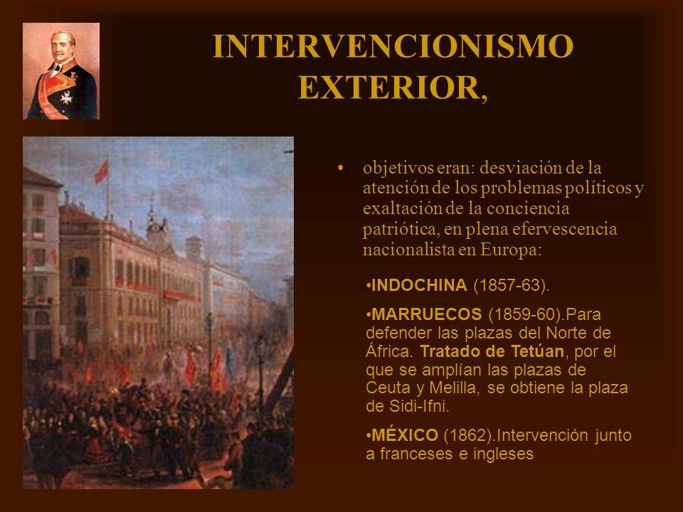 Mª Victoria Landa INTERVENCIONISMO EXTERIOR, objetivos eran: desviación de la atención de los problemas políticos y exaltación de la conciencia patrió