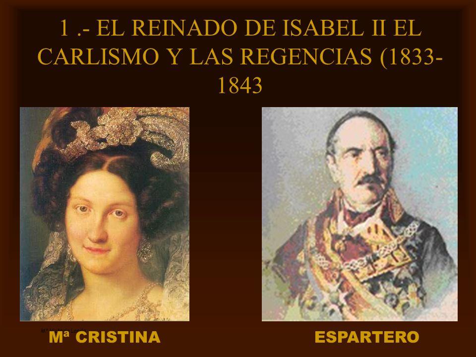 Mª Victoria Landa 1.- EL REINADO DE ISABEL II EL CARLISMO Y LAS REGENCIAS (1833- 1843 Mª CRISTINAESPARTERO