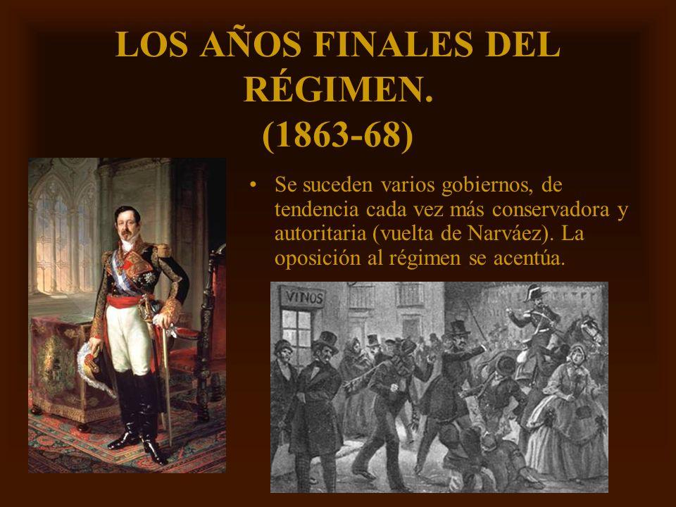 Mª Victoria Landa LOS AÑOS FINALES DEL RÉGIMEN. (1863-68) Se suceden varios gobiernos, de tendencia cada vez más conservadora y autoritaria (vuelta de