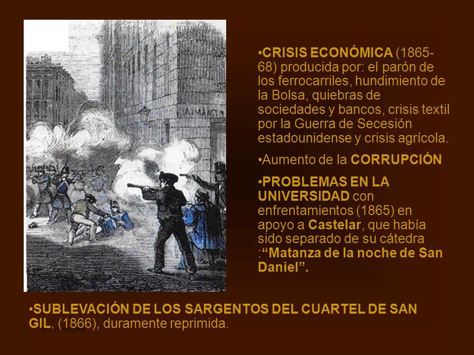 Mª Victoria Landa CRISIS ECONÓMICA (1865- 68) producida por: el parón de los ferrocarriles, hundimiento de la Bolsa, quiebras de sociedades y bancos,