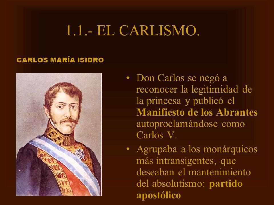 Mª Victoria Landa 1.1.- EL CARLISMO. Don Carlos se negó a reconocer la legitimidad de la princesa y publicó el Manifiesto de los Abrantes autoproclamá