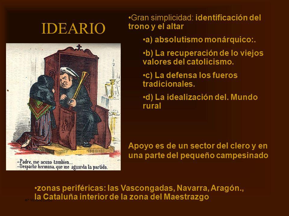 Mª Victoria Landa IDEARIO Gran simplicidad: identificación del trono y el altar a) absolutismo monárquico:. b) La recuperación de lo viejos valores de