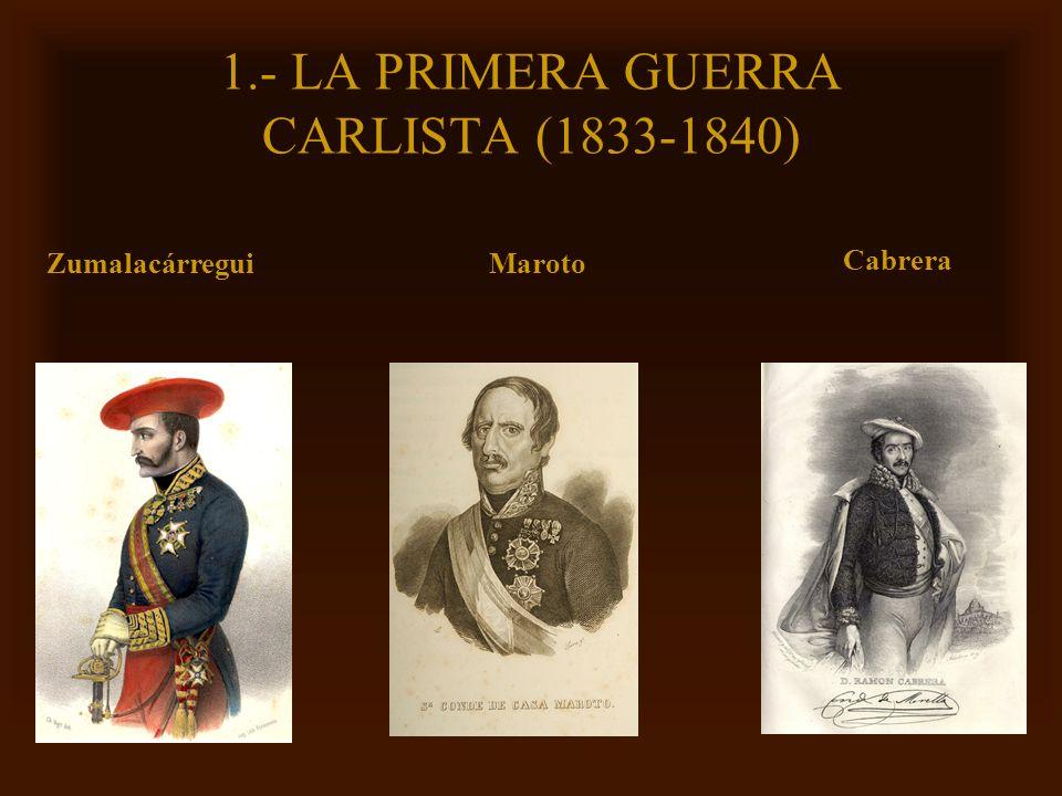 Mª Victoria Landa 1.- LA PRIMERA GUERRA CARLISTA (1833-1840) Zumalacárregui Cabrera Maroto