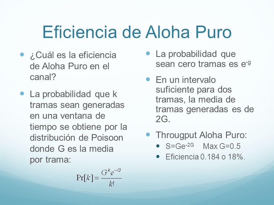 Eficiencia de Aloha Puro ¿Cuál es la eficiencia de Aloha Puro en el canal? La probabilidad que k tramas sean generadas en una ventana de tiempo se obt