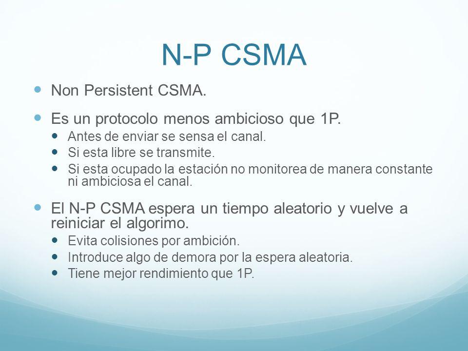 N-P CSMA Non Persistent CSMA. Es un protocolo menos ambicioso que 1P. Antes de enviar se sensa el canal. Si esta libre se transmite. Si esta ocupado l