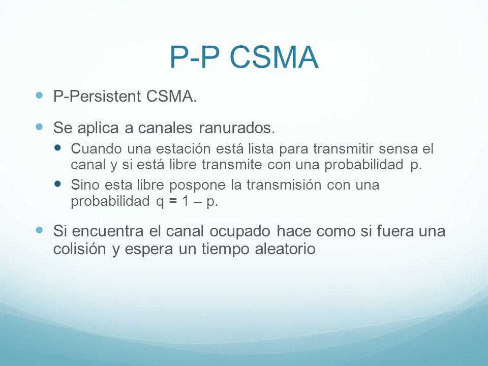 P-P CSMA P-Persistent CSMA. Se aplica a canales ranurados. Cuando una estación está lista para transmitir sensa el canal y si está libre transmite con