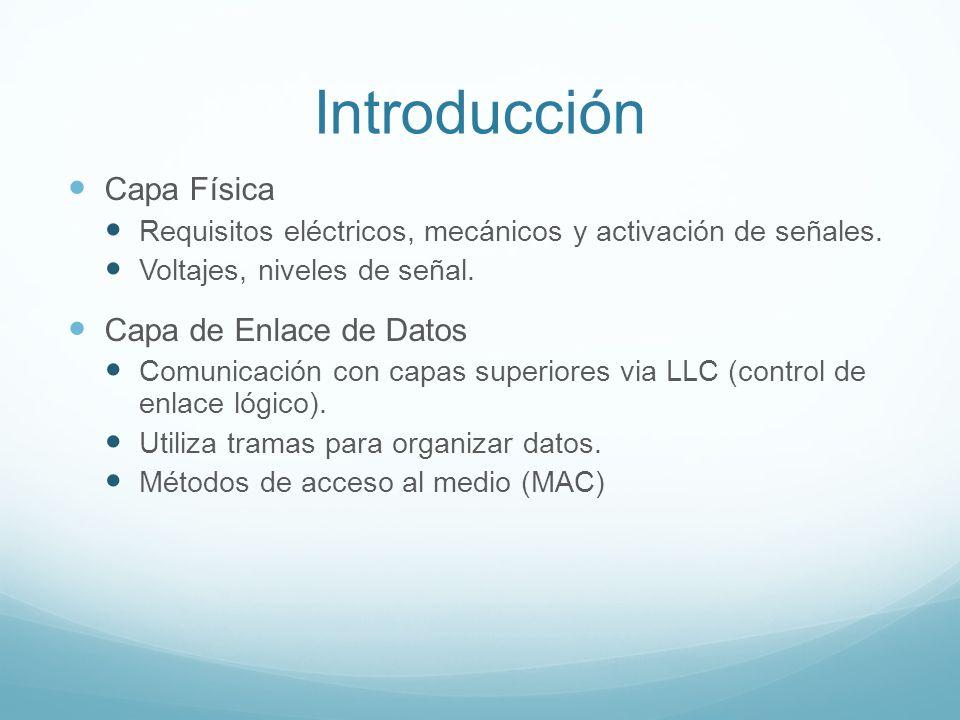 Introducción Capa Física Requisitos eléctricos, mecánicos y activación de señales. Voltajes, niveles de señal. Capa de Enlace de Datos Comunicación co