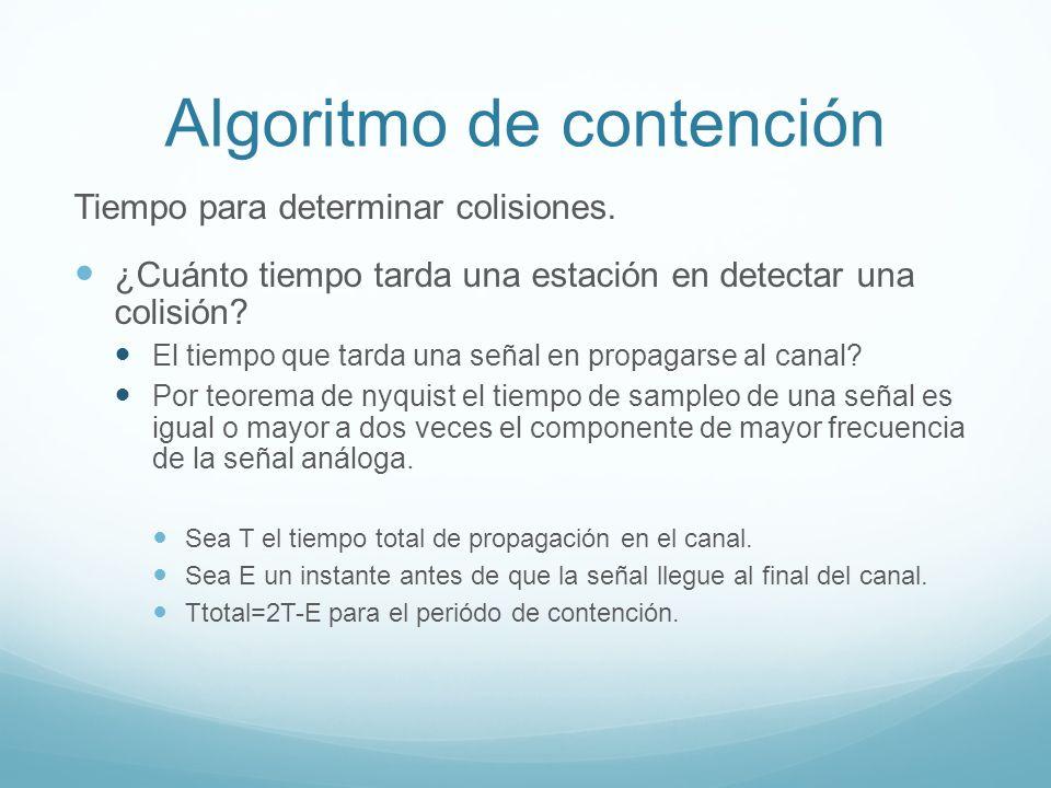 Algoritmo de contención Tiempo para determinar colisiones. ¿Cuánto tiempo tarda una estación en detectar una colisión? El tiempo que tarda una señal e