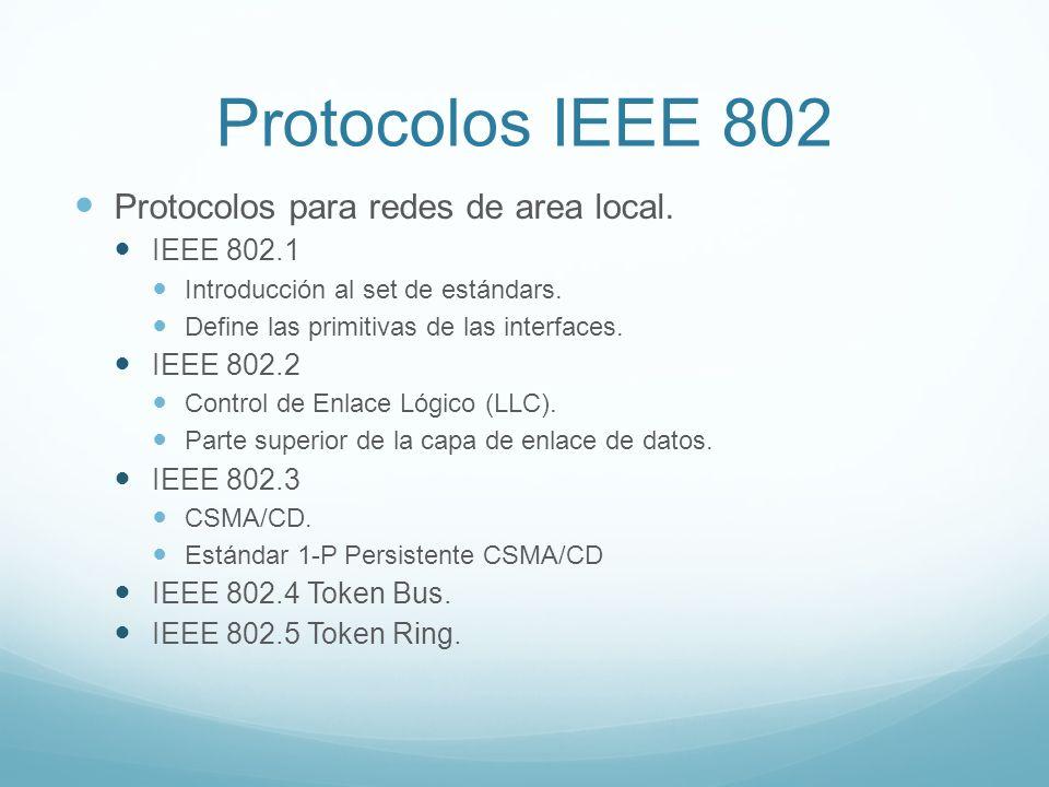Protocolos IEEE 802 Protocolos para redes de area local. IEEE 802.1 Introducción al set de estándars. Define las primitivas de las interfaces. IEEE 80