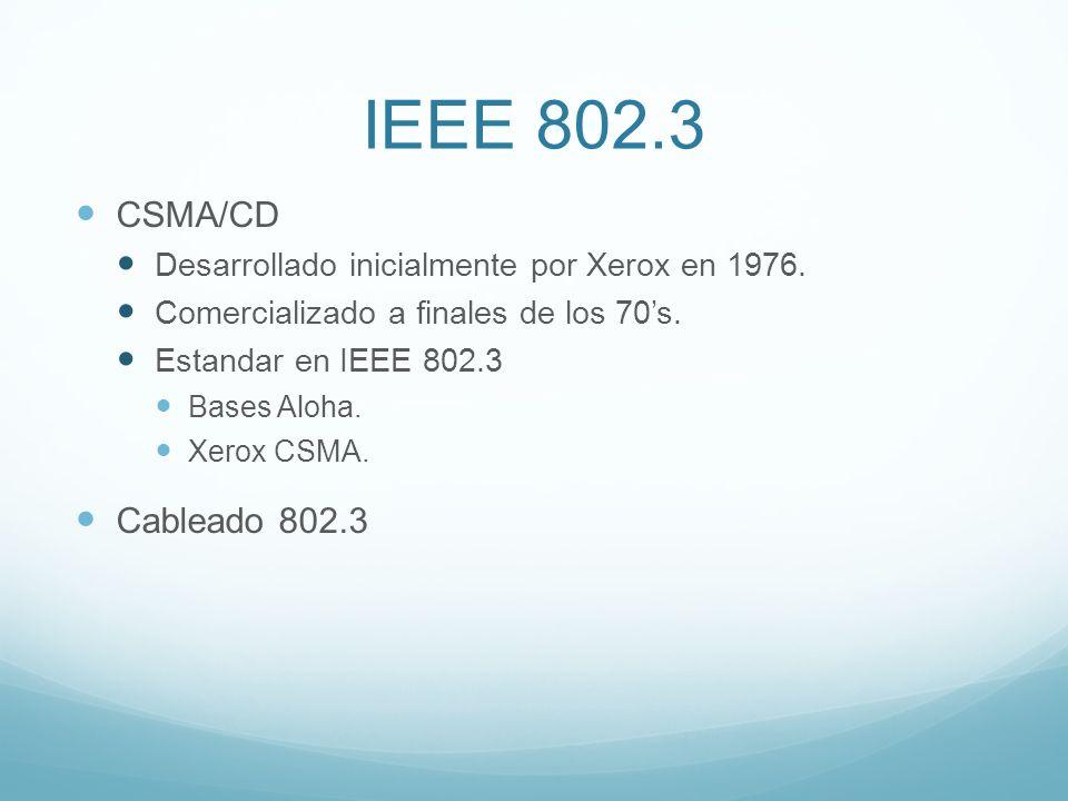 IEEE 802.3 CSMA/CD Desarrollado inicialmente por Xerox en 1976. Comercializado a finales de los 70s. Estandar en IEEE 802.3 Bases Aloha. Xerox CSMA. C