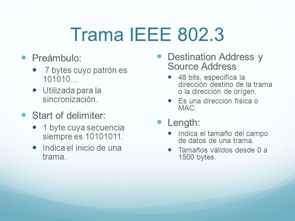 Trama IEEE 802.3 Preámbulo: 7 bytes cuyo patrón es 101010... Utilizada para la sincronización. Start of delimiter: 1 byte cuya secuencia siempre es 10