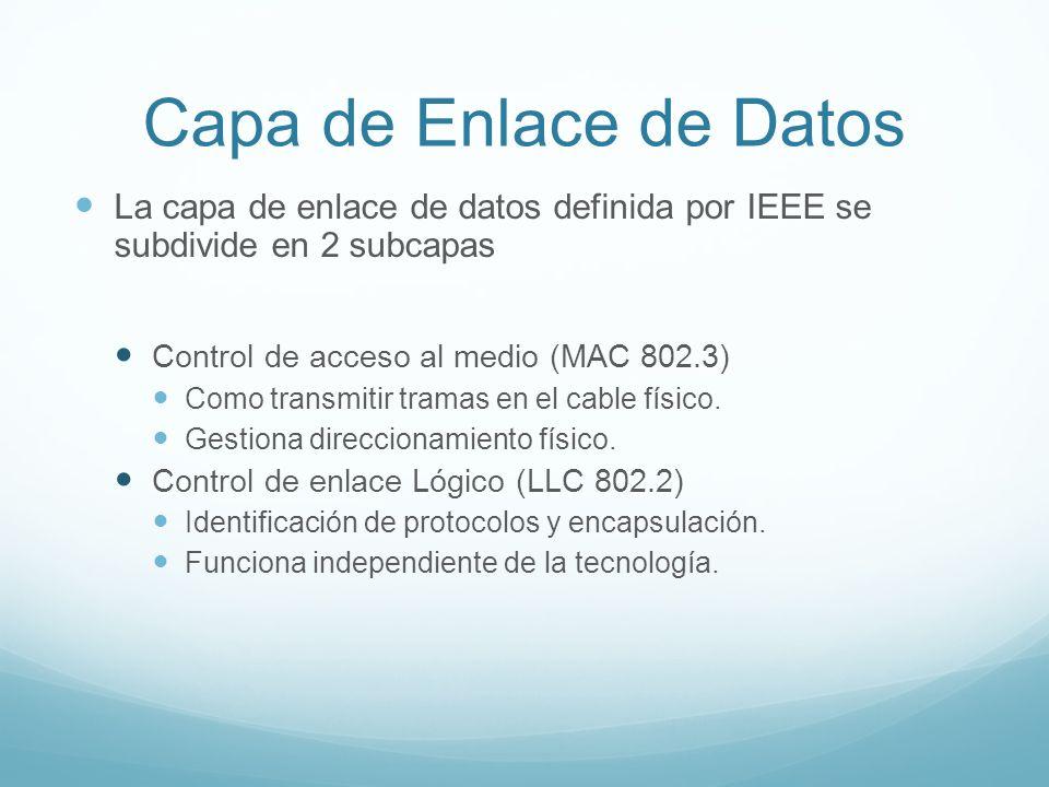 Capa de Enlace de Datos La capa de enlace de datos definida por IEEE se subdivide en 2 subcapas Control de acceso al medio (MAC 802.3) Como transmitir