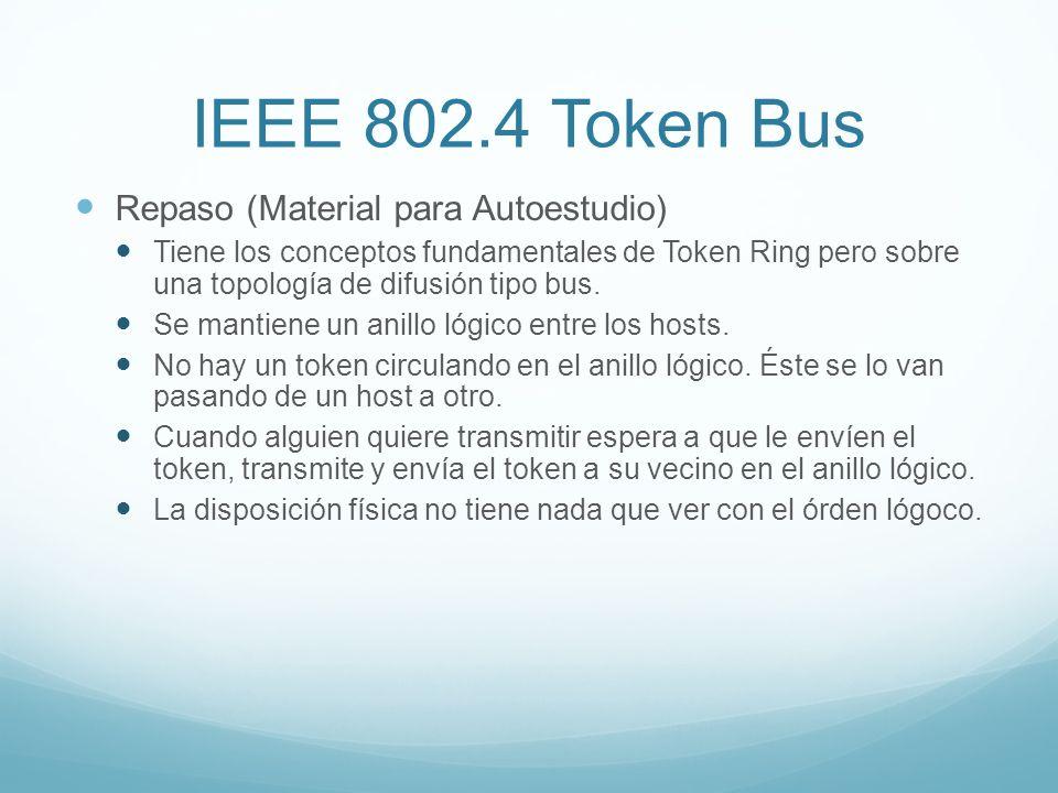 IEEE 802.4 Token Bus Repaso (Material para Autoestudio) Tiene los conceptos fundamentales de Token Ring pero sobre una topología de difusión tipo bus.