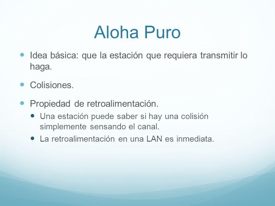 Aloha Puro Idea básica: que la estación que requiera transmitir lo haga. Colisiones. Propiedad de retroalimentación. Una estación puede saber si hay u