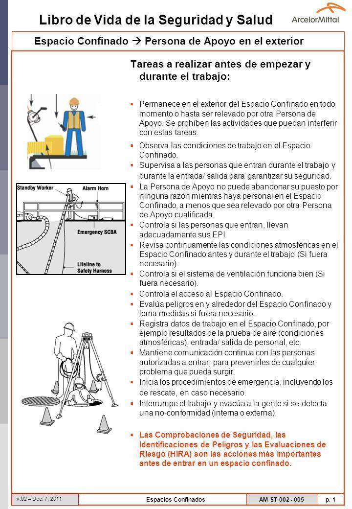 AM ST 002 - 005 p. 1 Libro de Vida de la Seguridad y Salud v.02 – Dec. 7, 2011 Espacios Confinados Tareas a realizar antes de empezar y durante el tra