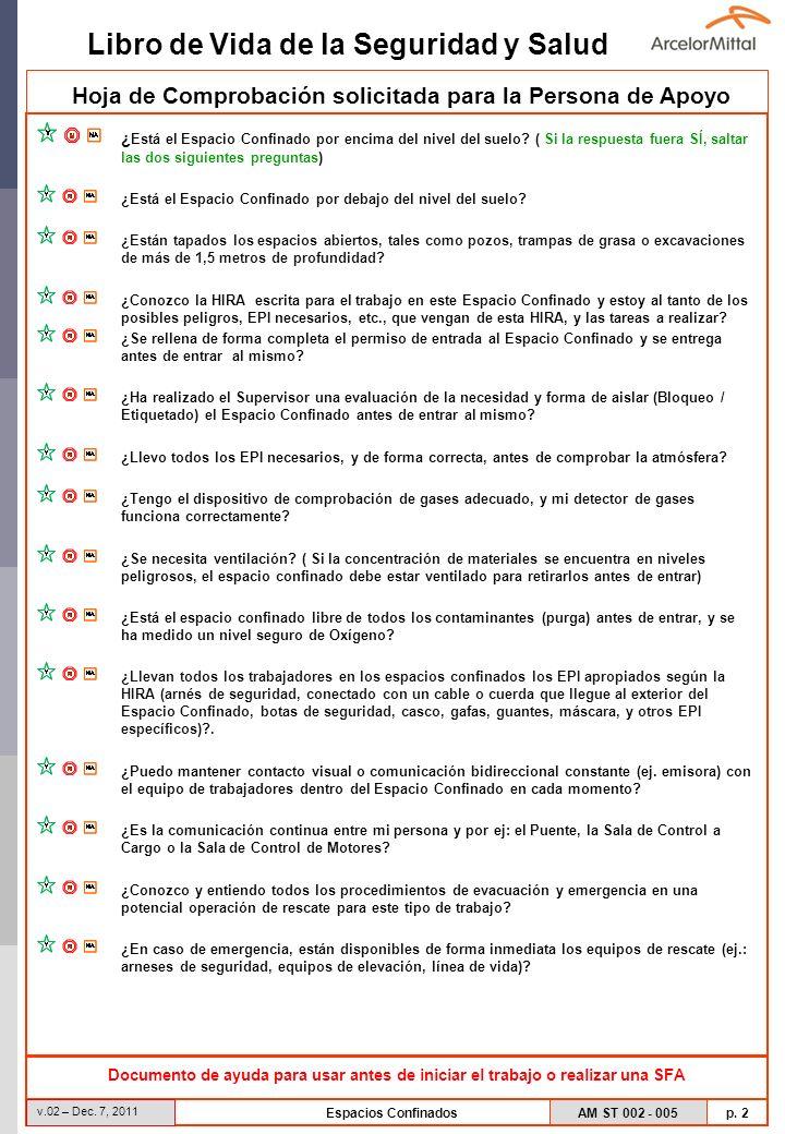 AM ST 002 - 005 p. 2 Libro de Vida de la Seguridad y Salud v.02 – Dec. 7, 2011 Espacios Confinados Hoja de Comprobación solicitada para la Persona de