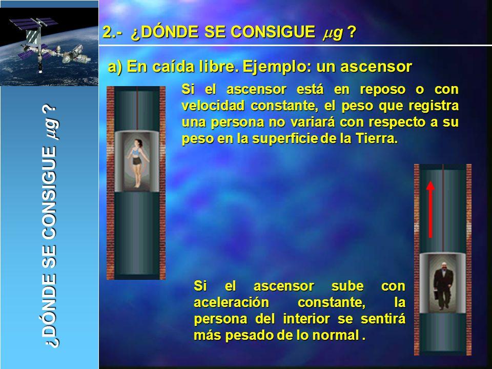 Si el ascensor desciende con aceleración constante, el peso que registrara la persona será más pequeño de lo normal.