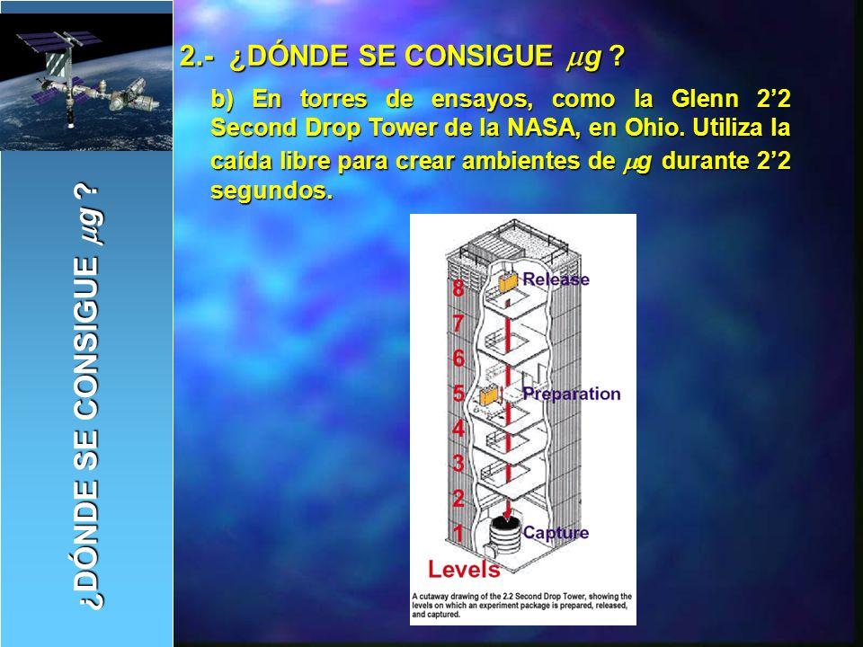 c) En aviones en trayectoria parabólica, como el A300 de la ESA o el KC-135 de la NASA.