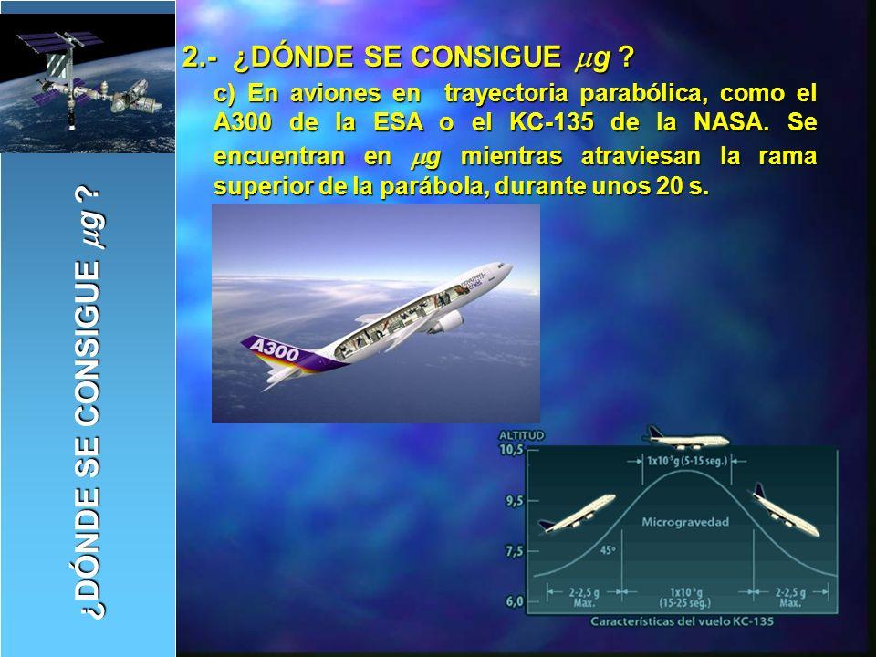 d) En cohetes suborbitales.Es similar al caso del avión, pero a mayor distancia y altitud.