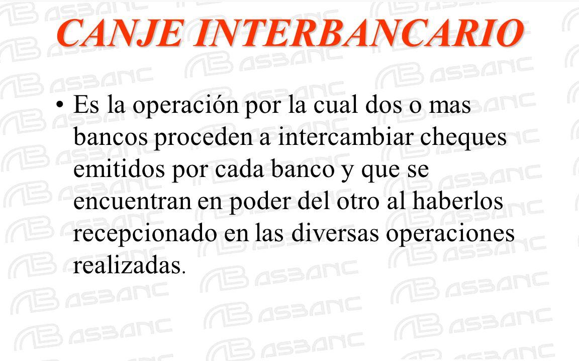 CANJE INTERBANCARIO Es la operación por la cual dos o mas bancos proceden a intercambiar cheques emitidos por cada banco y que se encuentran en poder
