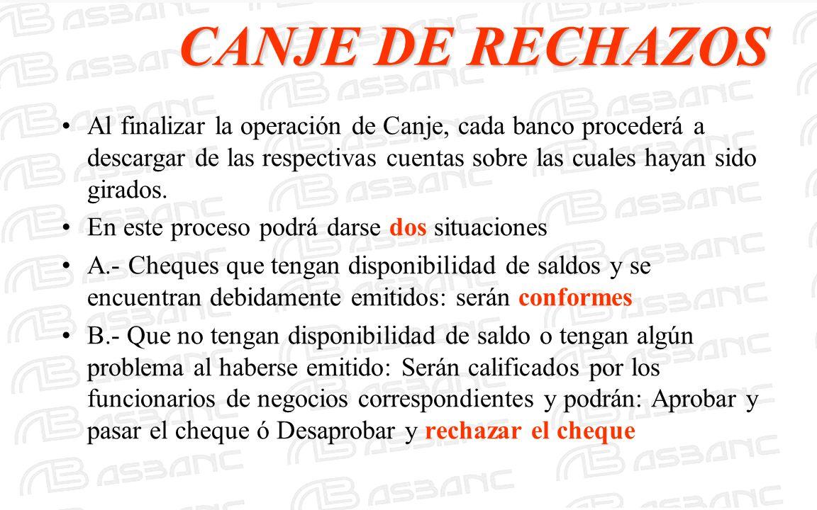 CANJE DE RECHAZOS Al finalizar la operación de Canje, cada banco procederá a descargar de las respectivas cuentas sobre las cuales hayan sido girados.
