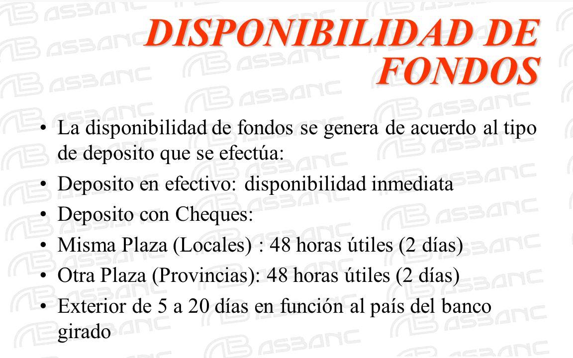 DISPONIBILIDAD DE FONDOS La disponibilidad de fondos se genera de acuerdo al tipo de deposito que se efectúa: Deposito en efectivo: disponibilidad inm