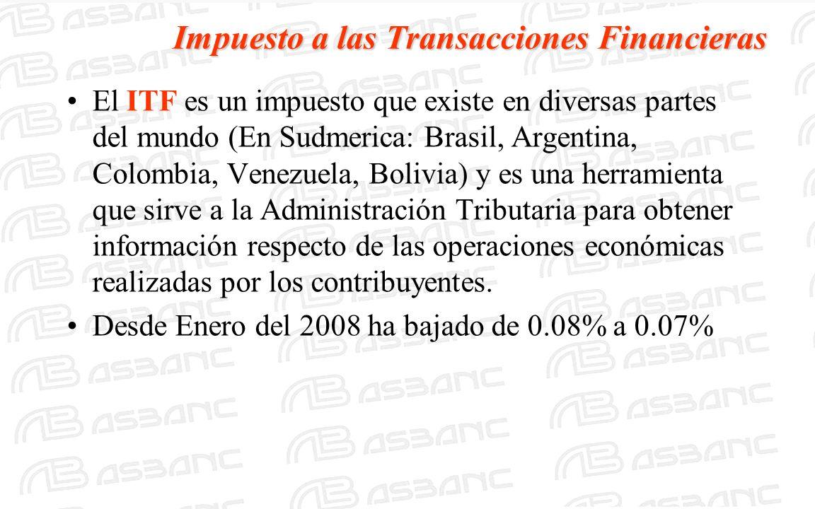 Impuesto a las Transacciones Financieras El ITF es un impuesto que existe en diversas partes del mundo (En Sudmerica: Brasil, Argentina, Colombia, Ven