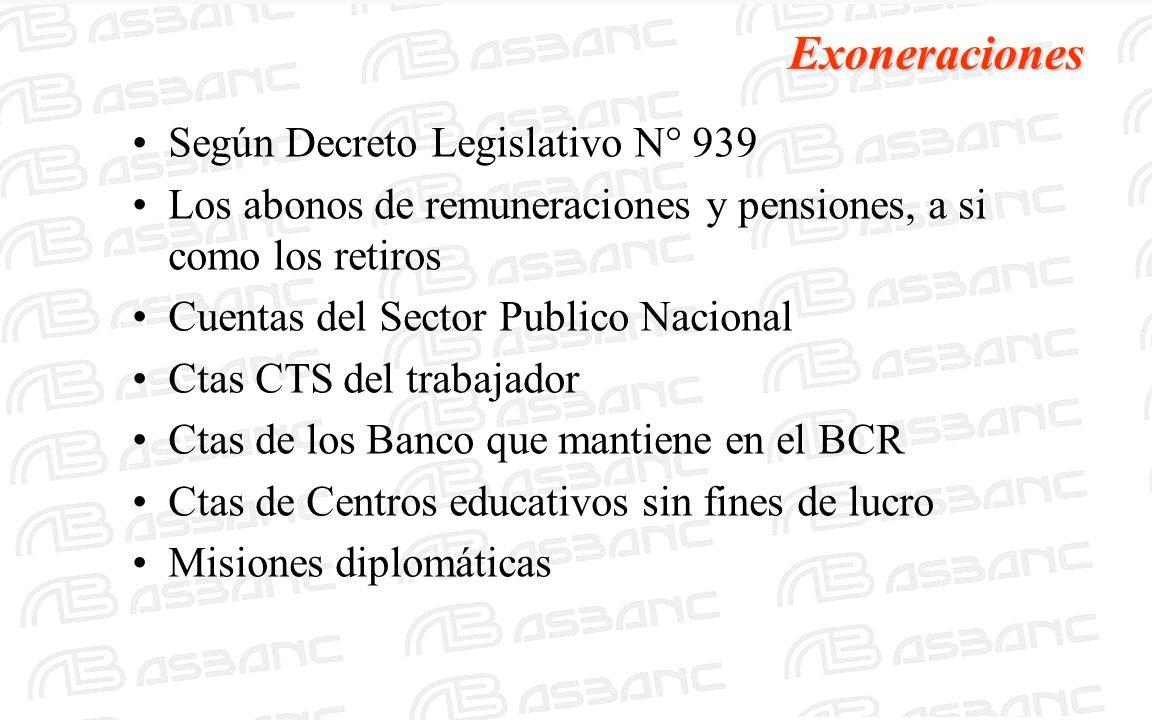 Exoneraciones Según Decreto Legislativo N° 939 Los abonos de remuneraciones y pensiones, a si como los retiros Cuentas del Sector Publico Nacional Cta