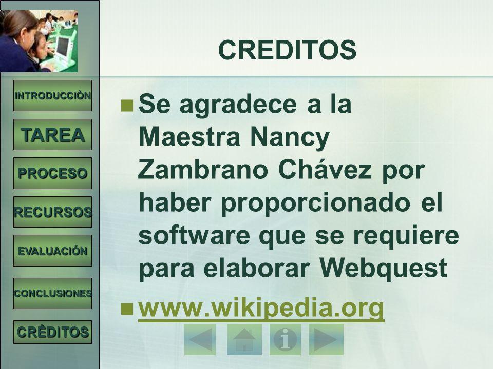 INTRODUCCIÓN TAREA PROCESO RECURSOS EVALUACIÓN CONCLUSIONES CRÉDITOS CREDITOS Se agradece a la Maestra Nancy Zambrano Chávez por haber proporcionado e