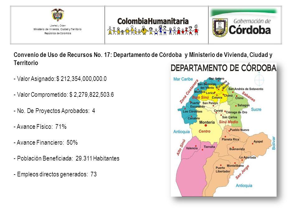 Convenio de Uso de Recursos No. 17: Departamento de Córdoba y Ministerio de Vivienda, Ciudad y Territorio - Valor Asignado: $ 212,354,000,000.0 - Valo