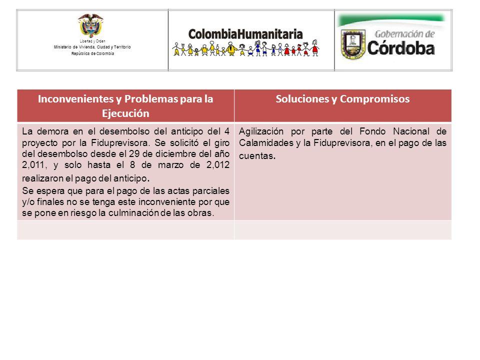 Libertad y Orden Ministerio de Vivienda, Ciudad y Territorio República de Colombia LOGO ENTIDAD TERRITORIAL Inconvenientes y Problemas para la Ejecuci