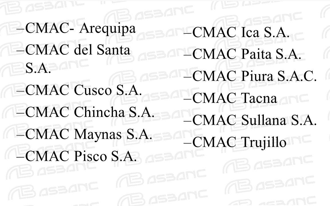 –CMAC- Arequipa –CMAC del Santa S.A. –CMAC Cusco S.A. –CMAC Chincha S.A. –CMAC Maynas S.A. –CMAC Pisco S.A. –CMAC Ica S.A. –CMAC Paita S.A. –CMAC Piur
