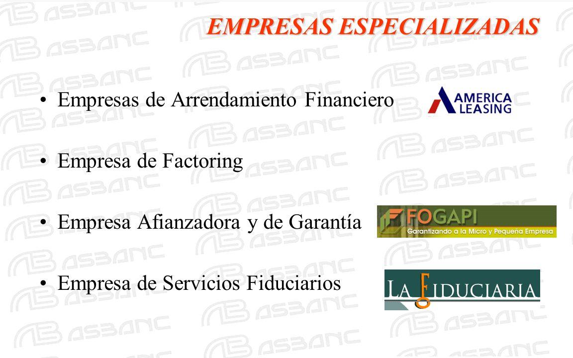 EMPRESAS ESPECIALIZADAS Empresas de Arrendamiento Financiero Empresa de Factoring Empresa Afianzadora y de Garantía Empresa de Servicios Fiduciarios