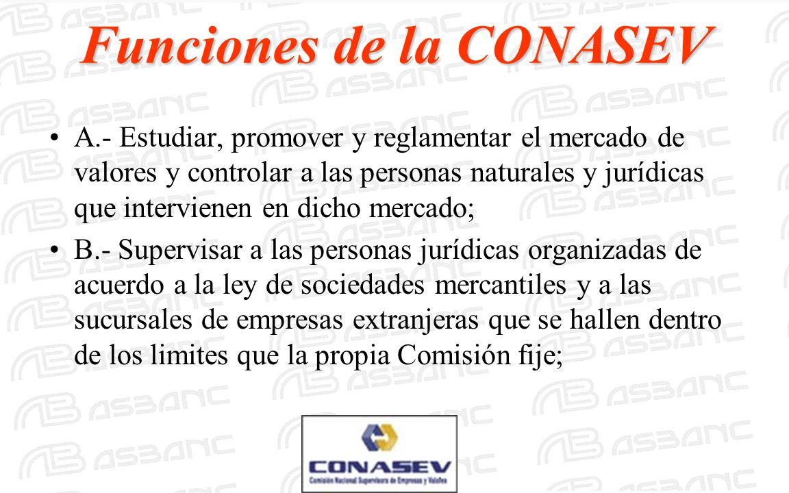Funciones de la CONASEV A.- Estudiar, promover y reglamentar el mercado de valores y controlar a las personas naturales y jurídicas que intervienen en