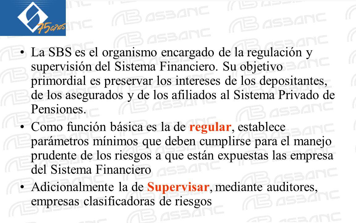 La SBS es el organismo encargado de la regulación y supervisión del Sistema Financiero. Su objetivo primordial es preservar los intereses de los depos