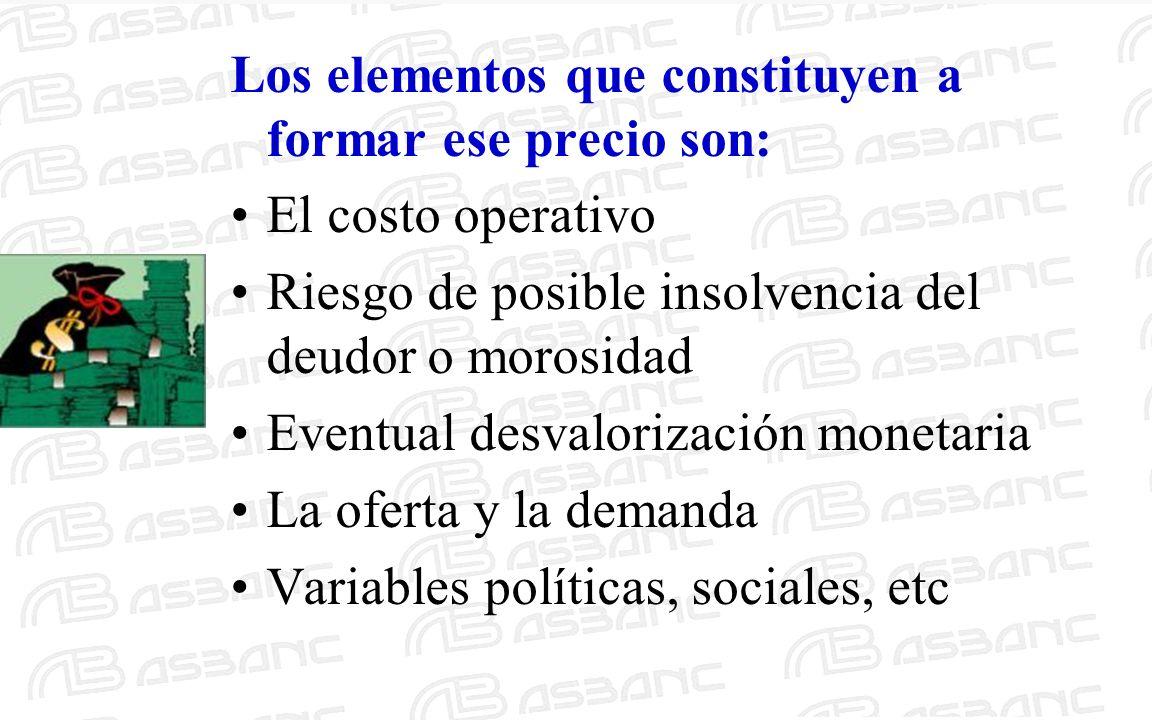 Los elementos que constituyen a formar ese precio son: El costo operativo Riesgo de posible insolvencia del deudor o morosidad Eventual desvalorizació