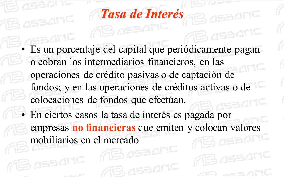 Tasa de Interés Es un porcentaje del capital que periódicamente pagan o cobran los intermediarios financieros, en las operaciones de crédito pasivas o de captación de fondos; y en las operaciones de créditos activas o de colocaciones de fondos que efectúan.