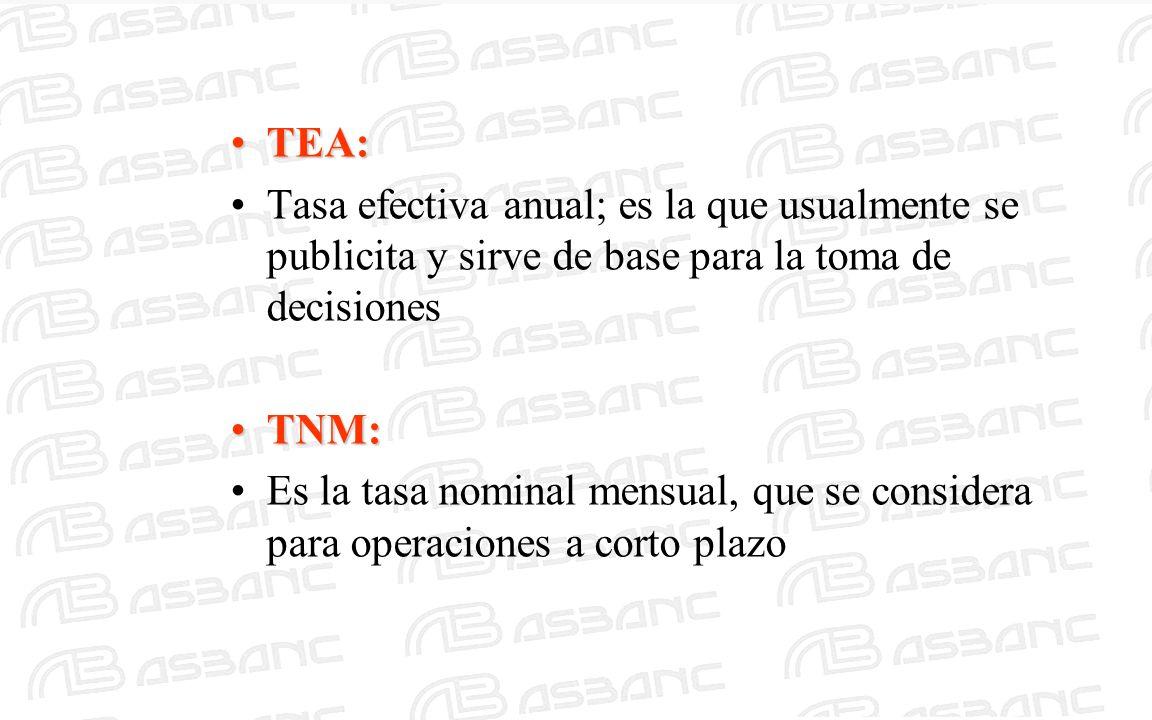 TEA:TEA: Tasa efectiva anual; es la que usualmente se publicita y sirve de base para la toma de decisiones TNM:TNM: Es la tasa nominal mensual, que se