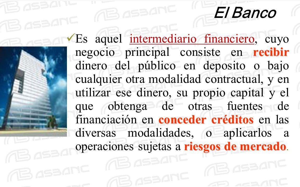 El Banco recibir conceder créditos riesgos de mercado Es aquel intermediario financiero, cuyo negocio principal consiste en recibir dinero del público