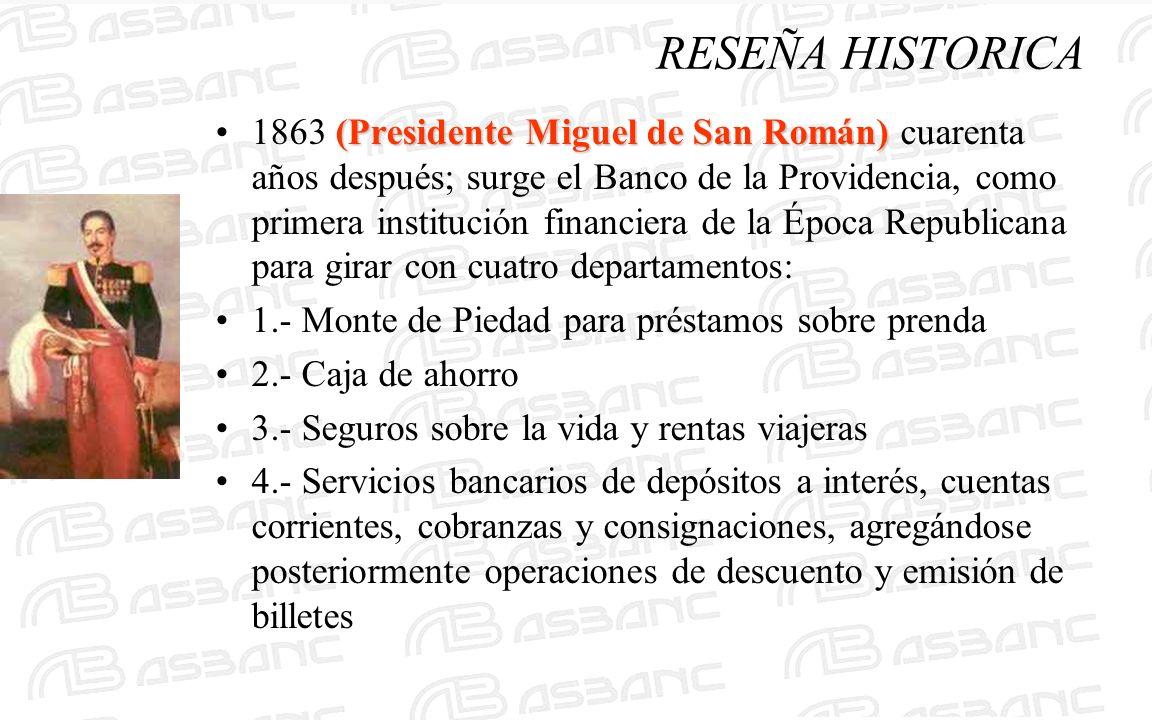 (Presidente Miguel de San Román)1863 (Presidente Miguel de San Román) cuarenta años después; surge el Banco de la Providencia, como primera institució