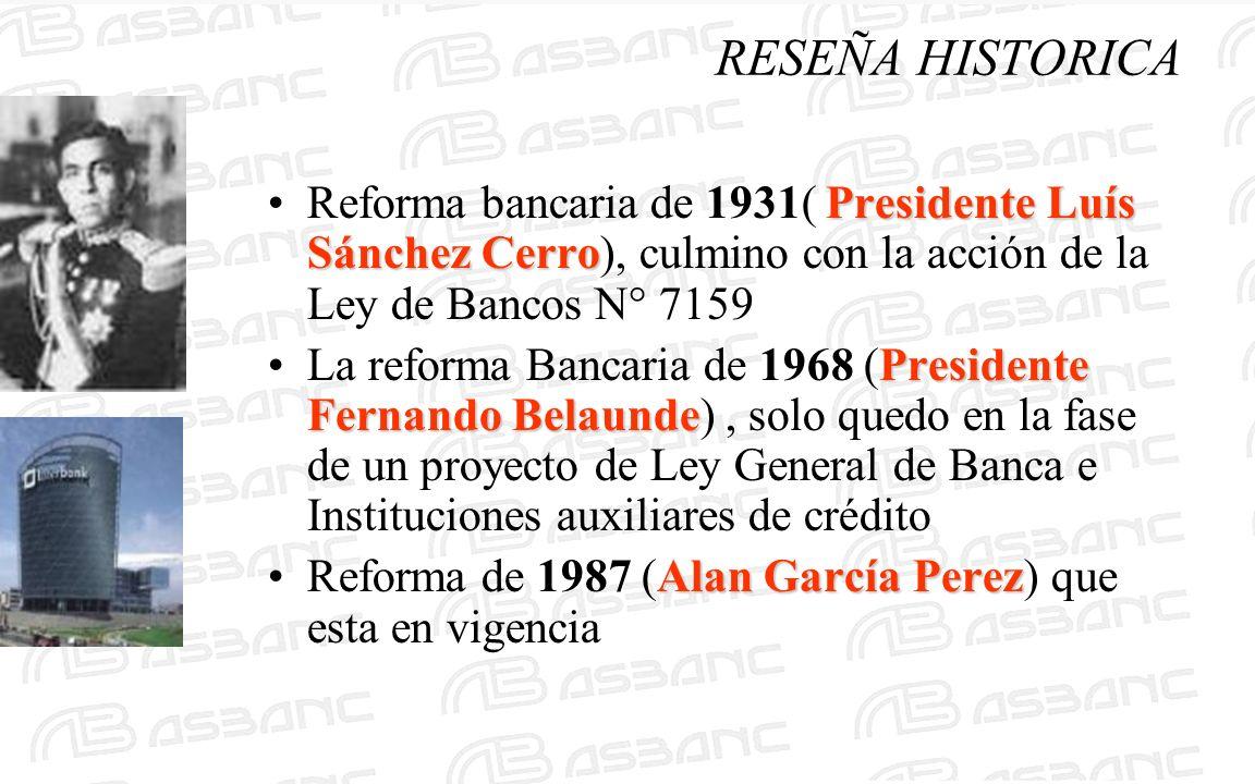 Presidente Luís Sánchez CerroReforma bancaria de 1931( Presidente Luís Sánchez Cerro), culmino con la acción de la Ley de Bancos N° 7159 Presidente Fe