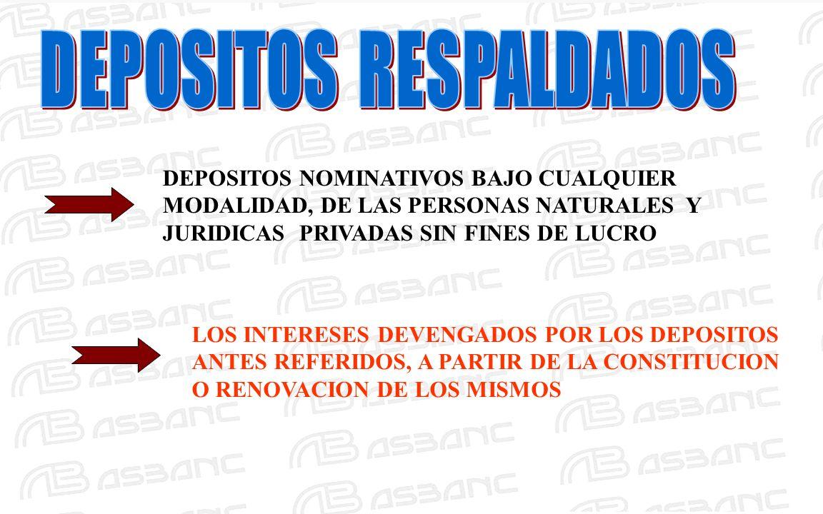 DEPOSITOS NOMINATIVOS BAJO CUALQUIER MODALIDAD, DE LAS PERSONAS NATURALES Y JURIDICAS PRIVADAS SIN FINES DE LUCRO LOS INTERESES DEVENGADOS POR LOS DEPOSITOS ANTES REFERIDOS, A PARTIR DE LA CONSTITUCION O RENOVACION DE LOS MISMOS