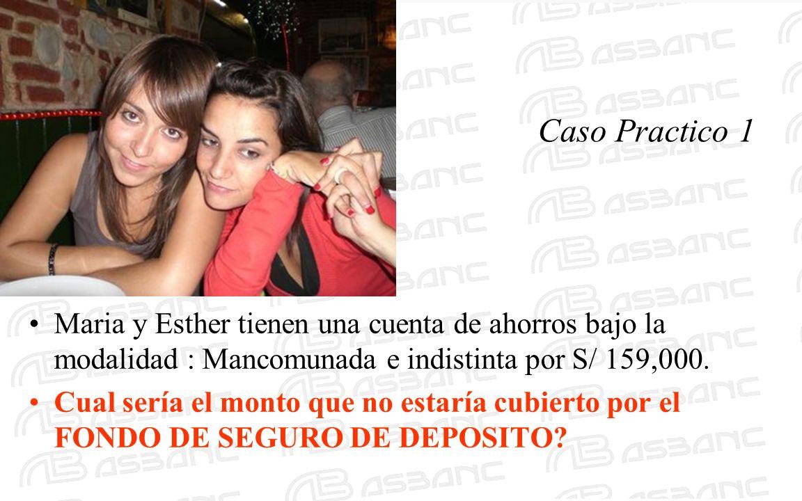Caso Practico 1 Maria y Esther tienen una cuenta de ahorros bajo la modalidad : Mancomunada e indistinta por S/ 159,000. Cual sería el monto que no es