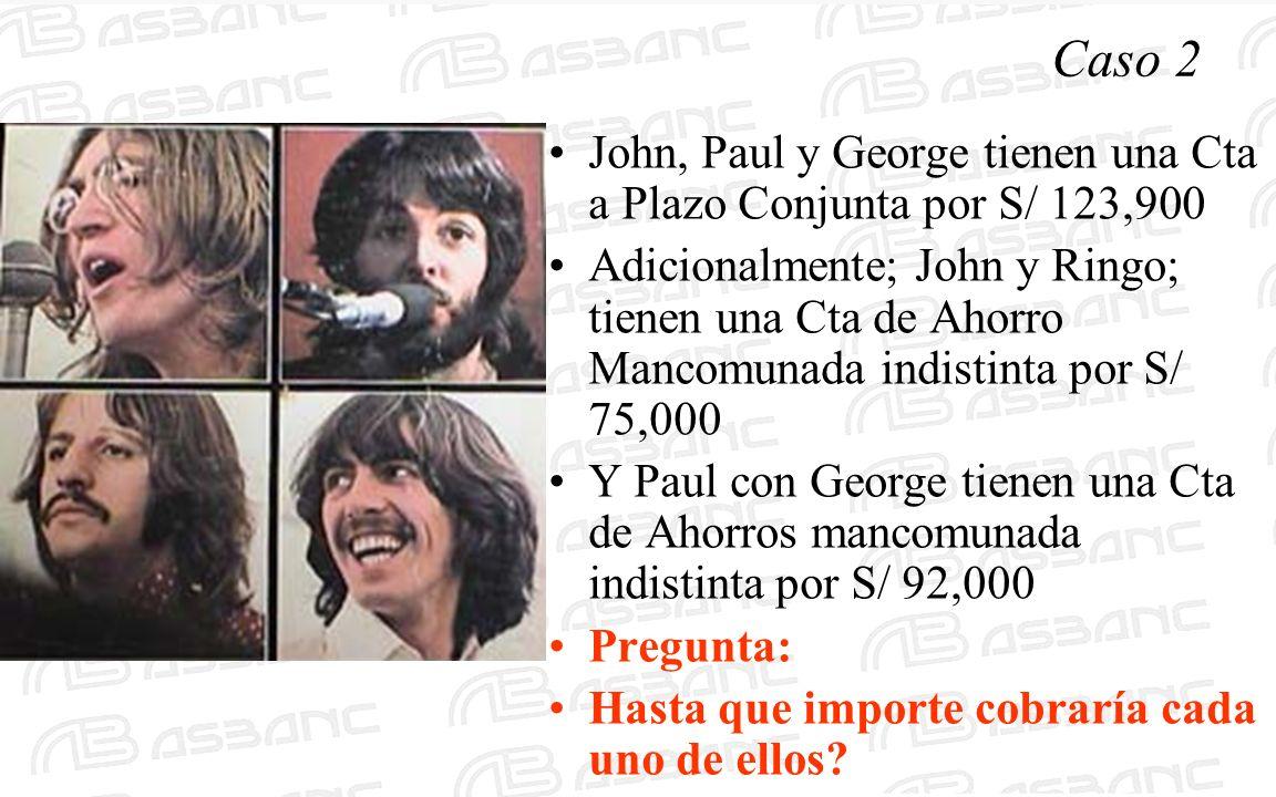 Caso 2 John, Paul y George tienen una Cta a Plazo Conjunta por S/ 123,900 Adicionalmente; John y Ringo; tienen una Cta de Ahorro Mancomunada indistinta por S/ 75,000 Y Paul con George tienen una Cta de Ahorros mancomunada indistinta por S/ 92,000 Pregunta: Hasta que importe cobraría cada uno de ellos