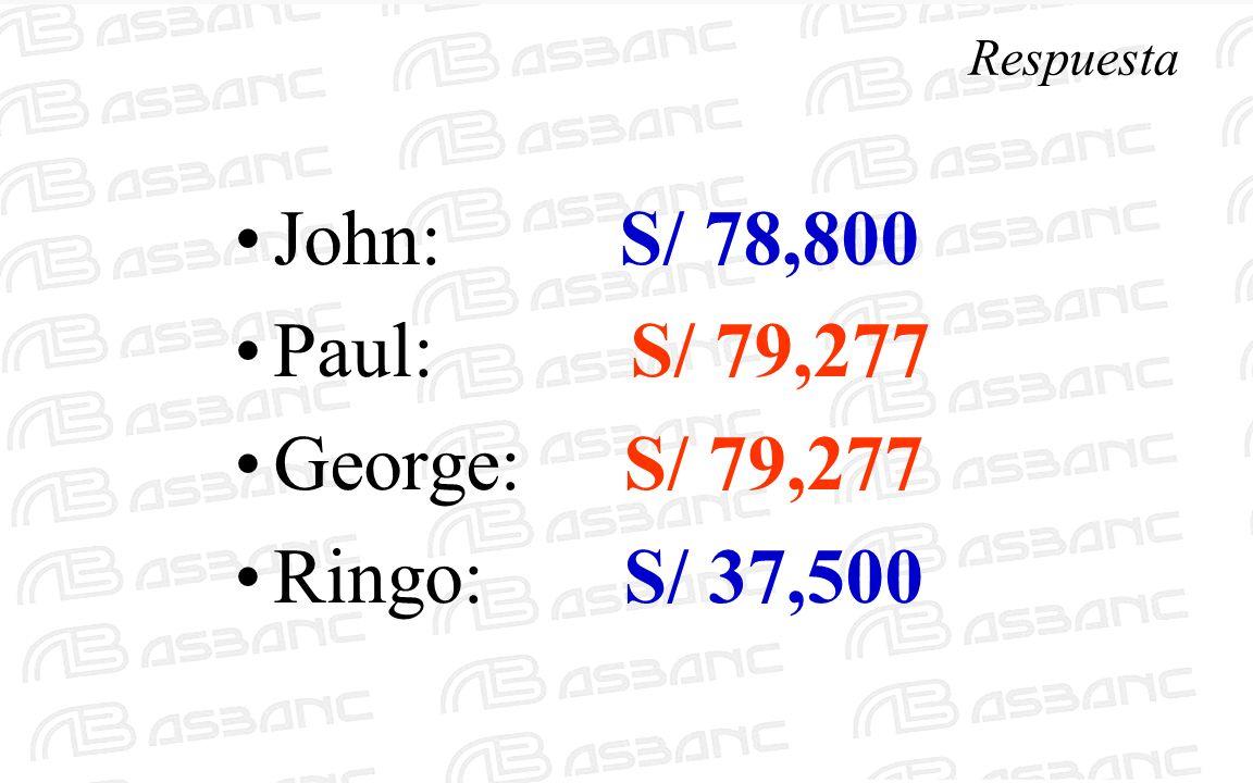 Respuesta John: S/ 78,800 Paul: S/ 79,277 George: S/ 79,277 Ringo: S/ 37,500