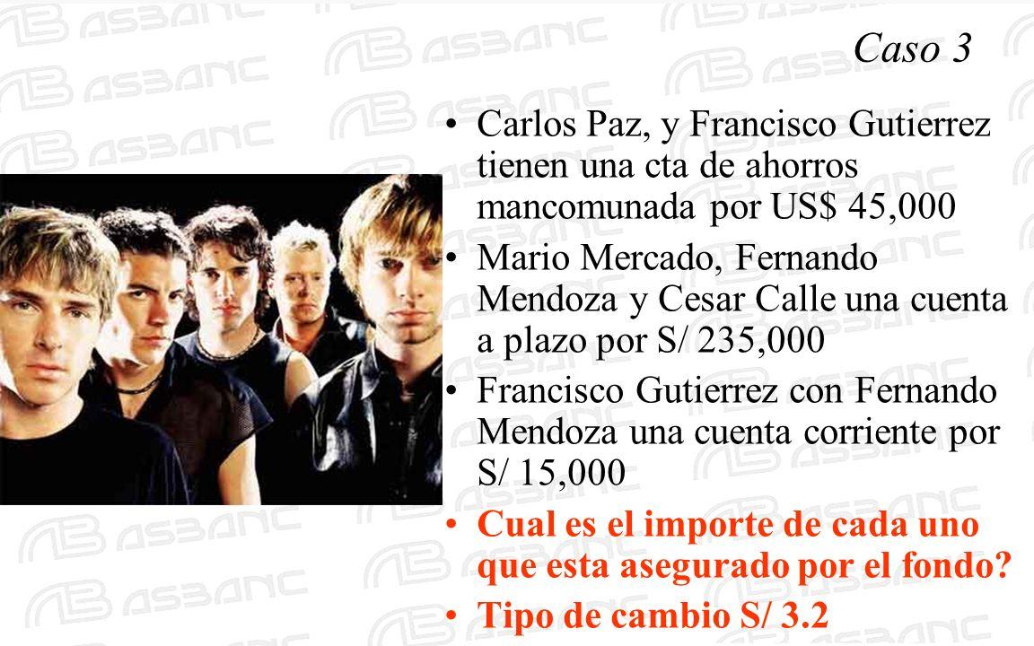 Caso 3 Carlos Paz, y Francisco Gutierrez tienen una cta de ahorros mancomunada por US$ 45,000 Mario Mercado, Fernando Mendoza y Cesar Calle una cuenta