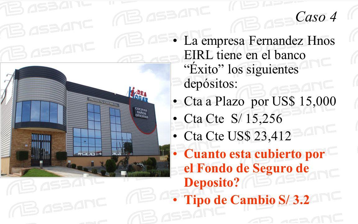 Caso 4 La empresa Fernandez Hnos EIRL tiene en el banco Éxito los siguientes depósitos: Cta a Plazo por US$ 15,000 Cta Cte S/ 15,256 Cta Cte US$ 23,41