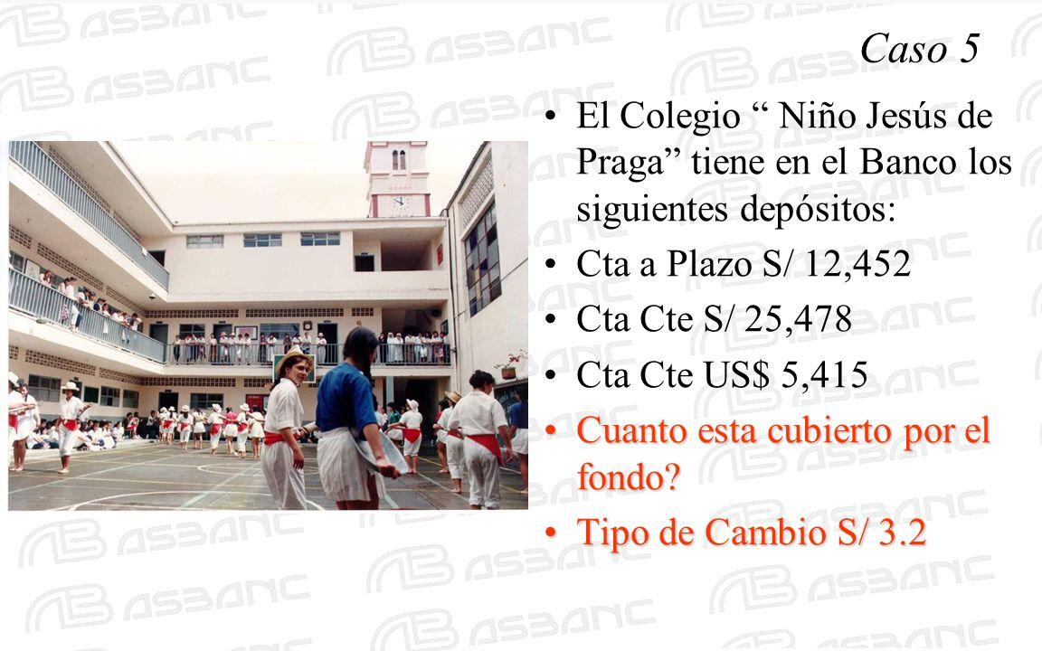 Caso 5 El Colegio Niño Jesús de Praga tiene en el Banco los siguientes depósitos: Cta a Plazo S/ 12,452 Cta Cte S/ 25,478 Cta Cte US$ 5,415 Cuanto est