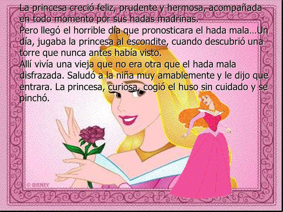 La princesa creció feliz, prudente y hermosa, acompañada en todo momento por sus hadas madrinas. Pero llegó el horrible día que pronosticara el hada m